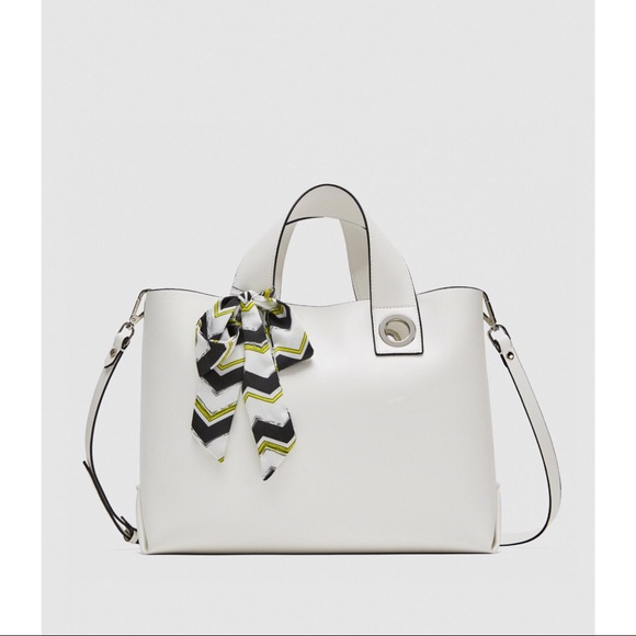 51472aea84 ZARA WHITE LEATHER LARGE BAG NWT